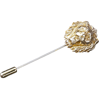 Miriam Haskell stick pin with gilt lion head early 20th century