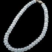 "Pale green aventurine 17"" necklace with apple green flecks 20th century"