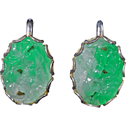 Pair of vintage carved and pierced apple green and white jadeite screw back earrings circa 1950