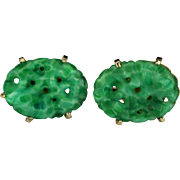 Vintage Marvella carved and pierced jade screw-mount earrings