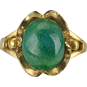 Vintage 10 k gold filled nephrite jade cabochon cocktail ring size 6