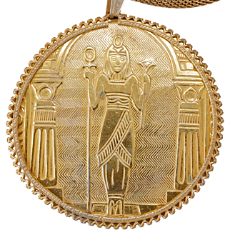 Miriam Haskell Egyptian Tutmania necklace with woven chain and goddess circa 1920
