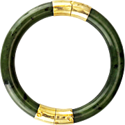 Vintage Chinese Nephrite jade bangle bracelet with goldtone hinge