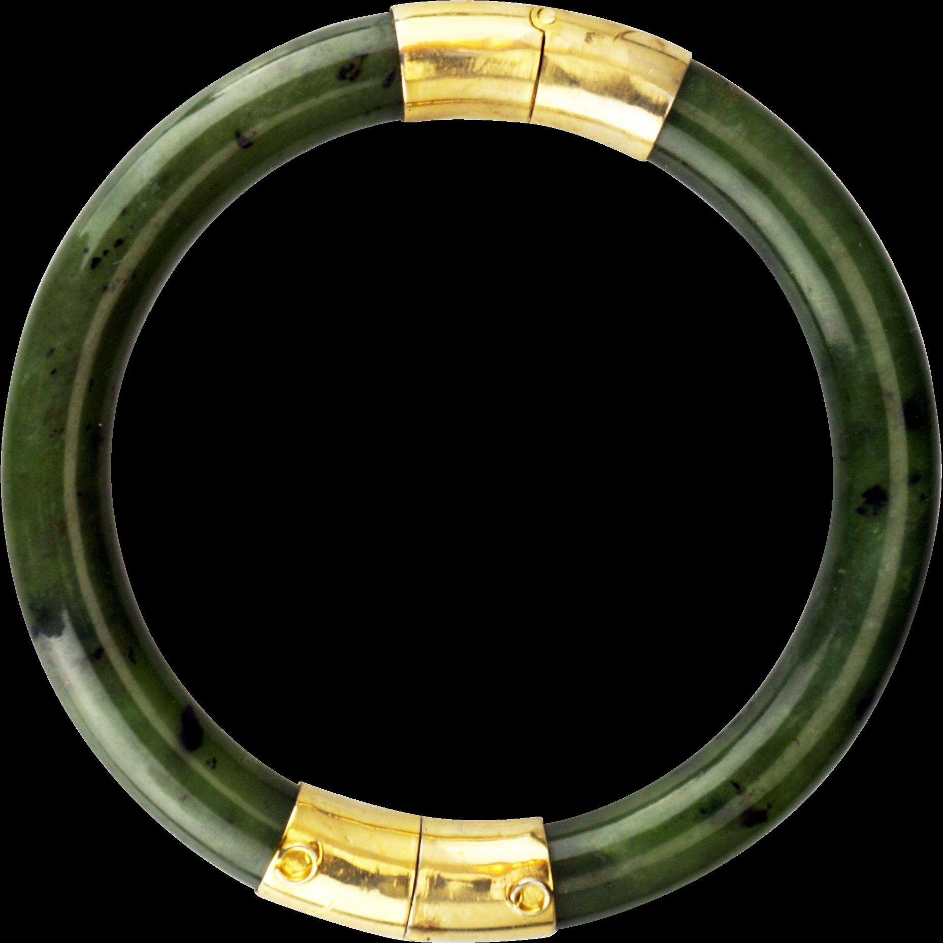 Vintage Chinese Nephrite Jade Bangle Bracelet With
