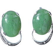 Jade cabochon sterling screw back Sorrento earrings c 1960s