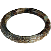 Chinese toroid form 65 mm mottled hardstone bangle bracelet Qing dynasty 19th century