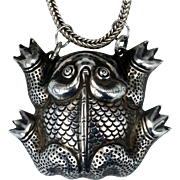 Chinese silver toad or frog necklace with sterling silver chain early 20th C
