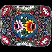 Italian micro mosaic rectangular pin circa 1900