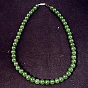 "Chinese dark green jade 17"" necklace"