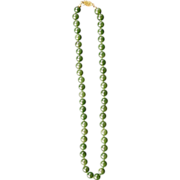 "Vintage Chinese spinach green nephrite jade 18"" 47-bead necklace"