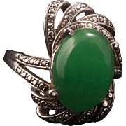 Vintage Jade ring with sterling mount