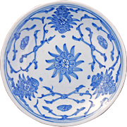 Antique Chinese blue and white porcelain saucer with stylized design circa 1900