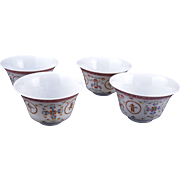 Set of four Chinese Famille rose delicately painted porcelain teacups 19th century