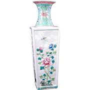 Early 20th Century Chinese porcelain rectangular vase with raised four seasons floral designs