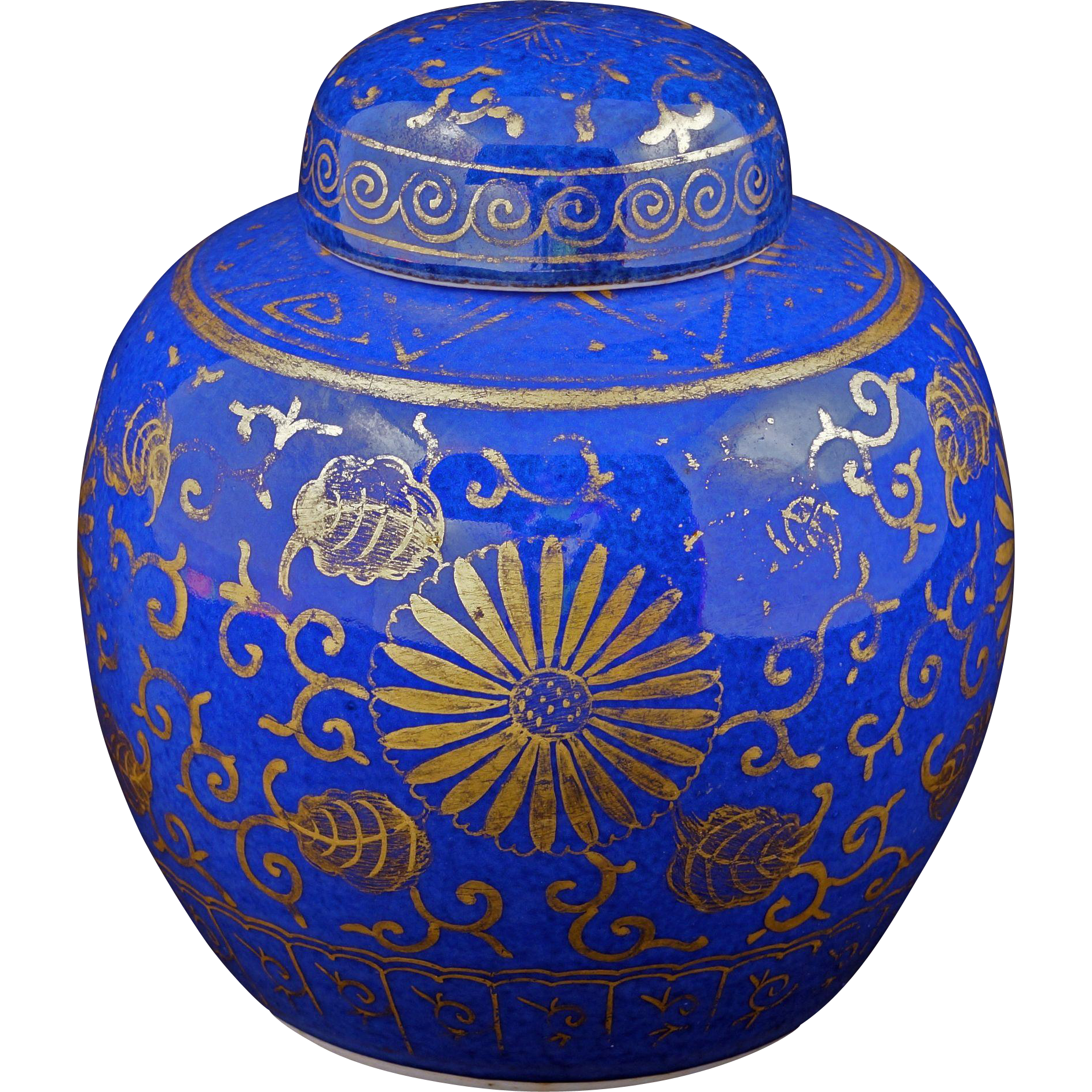 Blue Ginger Jar Part - 23: Chinese Powder Blue Ginger Jar With Gilt Overlay 19th Century