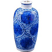 Chinese blue and white porcelain snuff bottle circa 1900