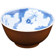 Chinese porcelain small blue and white bowl with café au lait glaze outside 19th century