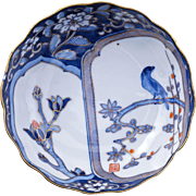 Japanese porcelain Imari dish with magnolia and bird circa 1900