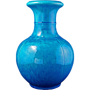 Large Chinese vase with under glaze blue design under turquoise glaze circa 1900