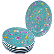 Set of 6 Chinese turquoise over glaze enamel porcelain dishes late 19th century