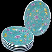 Set of 6 Chinese turquoise over glaze enamel porcelain dishes late 19th century