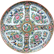 "Large Chinese porcelain rose medallion 10"" plate 19th century"