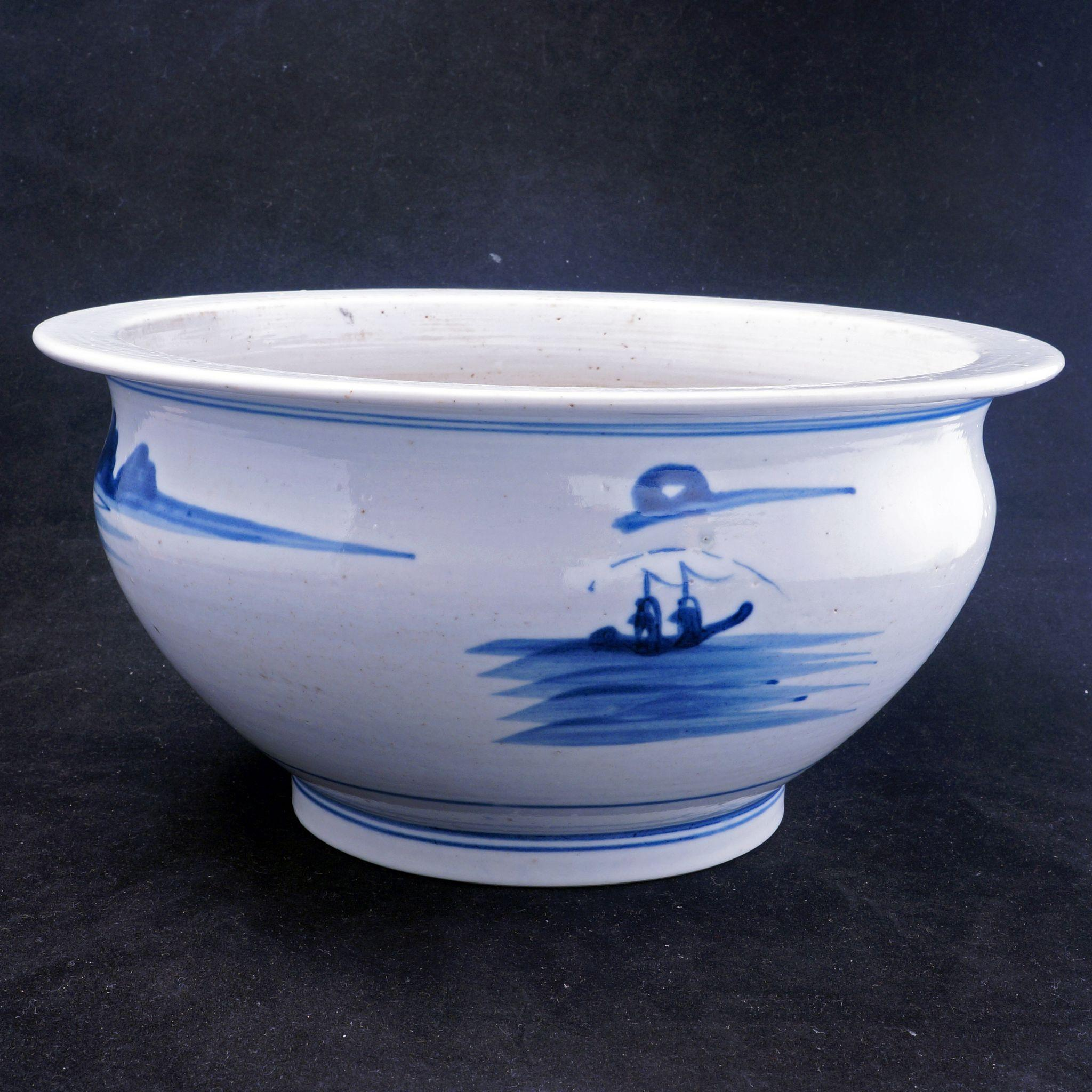 Large Chinese Porcelain Canton Ware Blue And White Large