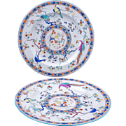Pair of rare matching hand painted antique polychrome chinoiserie plates by Wedgewood circa 1900