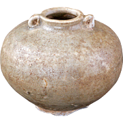 Chinese Ming Dynasty porcelain small brown glaze jar with handles – 15th or 16th century