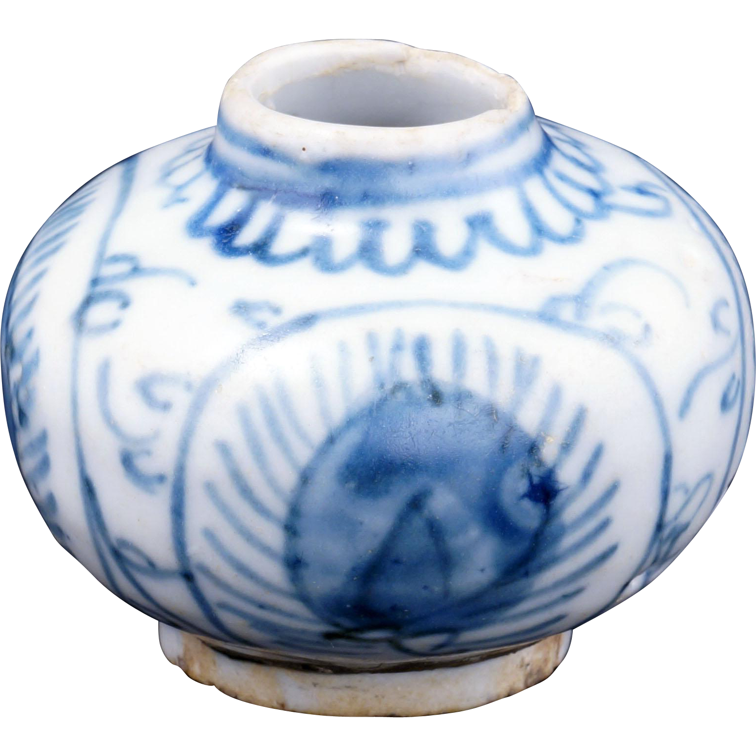 Small Blue And White Chinese Ming Porcelain Jar With Pea Feather Bear Raven Ruby Lane