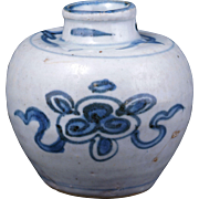 Small Chinese porcelain jar with lotus symbols Ming Dynasty 16th century