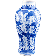 Chinese blue and white porcelain garniture vase or jar Qing Dynasty 19th century