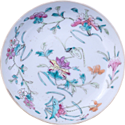 Chinese famille rose porcelain saucer with fungus, lotus and cricket over glaze design early 20th century