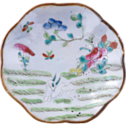 Chinese porcelain lobbed edged dish with goat in a meadow design early 20th century