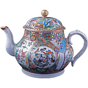 Chinese over glaze enamel porcelain teapot with hundred butterflies and rose medallion pattern 19th century