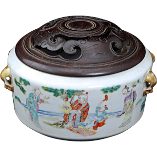 Chinese porcelain censor with scholar's scenes and hardwood lid 19th century