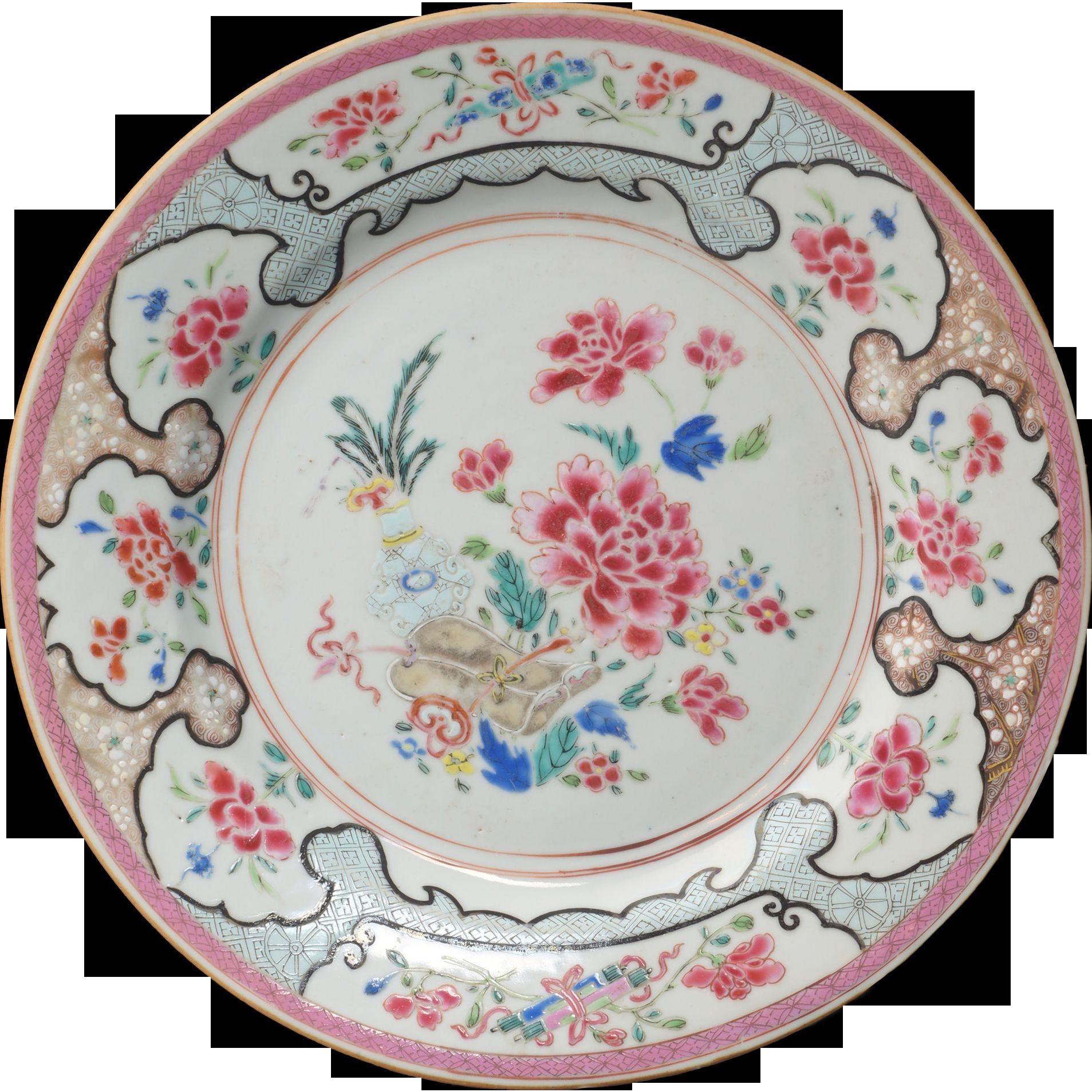 Chinese Porcelain Plates : Chinese export over glaze enamel famille rose porcelain