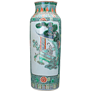 Chinese porcelain Famille verte Rolwagen sleeve vase with hand painted scenes late 19th century