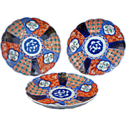 Set of three colorful Antique Japanese Imari porcelain plates Meiji Period 19th century Set 1 of 4