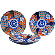 Set of three colorful Antique Japanese Imari porcelain plates Meiji Period 19th century Set 3 of 4