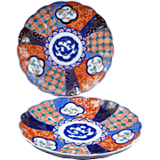 Pair of colorful Antique Japanese Imari porcelain plates Meiji Period 19th century Set 4 of 4