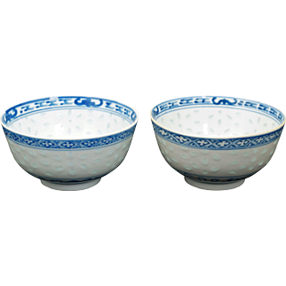 Pair of Chinese porcelain blue and white bowls with Kangxi reign marks circa 1900