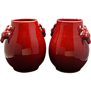 Pair of antique porcelain Chinese oxblood deer vases with Tongzhi/Guangxu reign marks mid-19th C