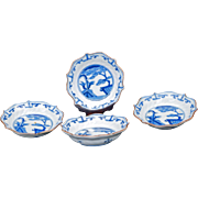 Set of four small matching Edo Japanese foliate rim dishes circa 1750