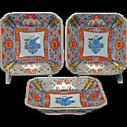 Set of three matched Japanese polychrome square Imari dishes 19th century