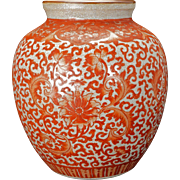 Chinese porcelain vase with copper red lotus scrolling on oatmeal crackle glaze body early 20th century