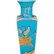 Chinese turquoise glazed porcelain square tapering vase with edged designs of warriors circa 1900