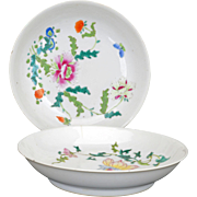 Pair of Chinese porcelain over glaze enamel saucers 19th century