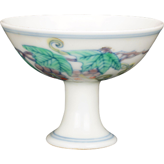 Chinese doucai stem cup with a Chenghua reign mark 20th century