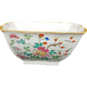 Chinese porcelain square bowl with over glaze enamels in a floral design circa 1900